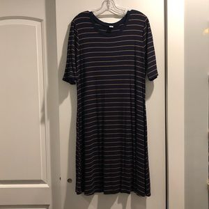 Ribbed Navy Striped Dress